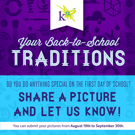 Share your back-to-school photos and show us how you make the first day of school fun and special for your kids. Click the link above to share your photos with us on Facebook.