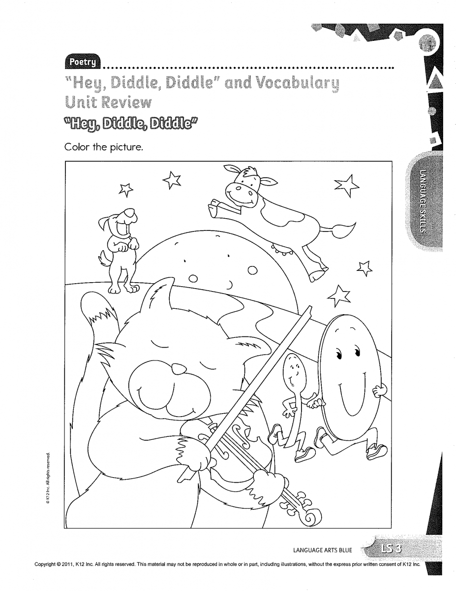 hey diddle diddle coloring pages | Hey Diddle The Cat And Fiddle Coloring Pages Sketch ...