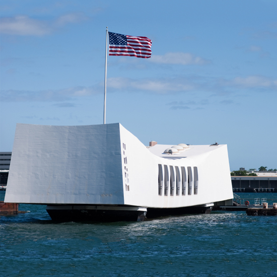 The USS Arizona Memorial at Pearl Harbor in Honolulu, HI marks the resting place of the USS Arizona and the more than 1,100 sailors and Marines killed onboard the ship during the attack.